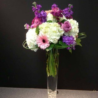 Purple & White Center Piece