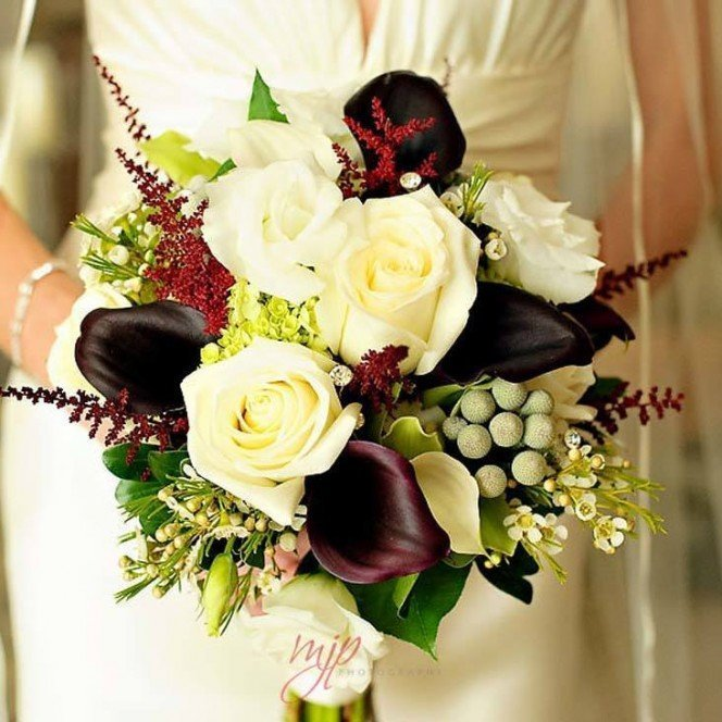 Brides Bouquet with White Roses & Red Calla Lillies